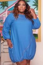 Vestido de camisa de mezclilla con cremallera azul casual de talla grande de otoño