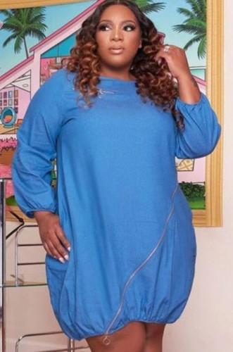 Autumn Plus Size Casual Blue Zipper Denim Shirt Dress