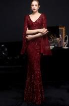 Robe de soirée sirène à col en V et paillettes rouges occasionnelles d'automne