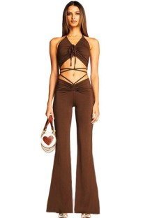 Summer Brown Basic Ruched Halter Crop Top and Bell Trousers Set