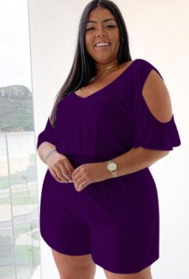 Plus Size Summer Purple Casual Rompers with Cut Out Shoulders
