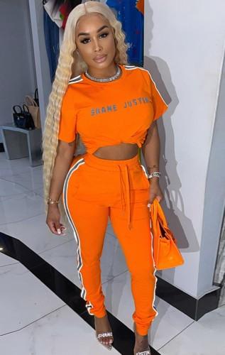 Survêtement chemise et pantalon de survêtement orange imprimé d'été