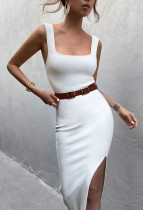 Летнее повседневное белое платье с длинным рукавом с разрезом