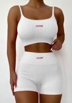 Conjunto de sutiã com nervuras brancas e shorts de cintura alta para esportes de verão
