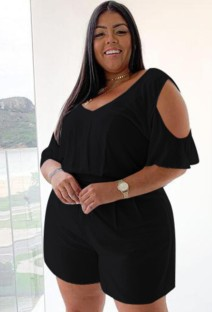 Plus Size Summer Black Casual Rompers with Cut Out Shoulders