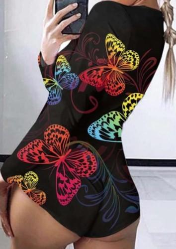 Barboteuses à manches longues à imprimé papillon d'automne