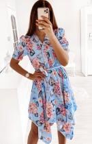 Yaz Günlük V Yaka Düzensiz Çiçekli Elbise