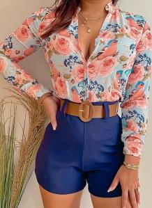 Summer Formal Print Long Sleeve Blouse and Plain Shorts 2 Piece Set