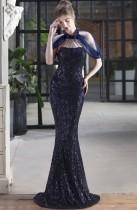 Vestido de noite formal com remendo de lantejoulas azuis sereia
