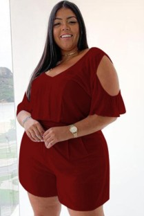 Plus Size Summer Red Casual Rompers with Cut Out Shoulders