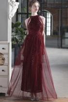 Vestido noturno ocasional de lantejoulas vermelhas com remendo de malha de malha vermelha