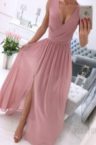 Sommer Casual Pink Wrap Ärmelloses Chiffon Langes Maxikleid
