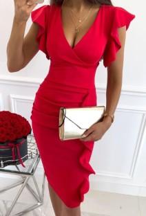 Летнее профессиональное красное офисное платье с рюшами