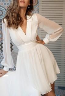 Autumn Elegant White V-Neck Skater Dress