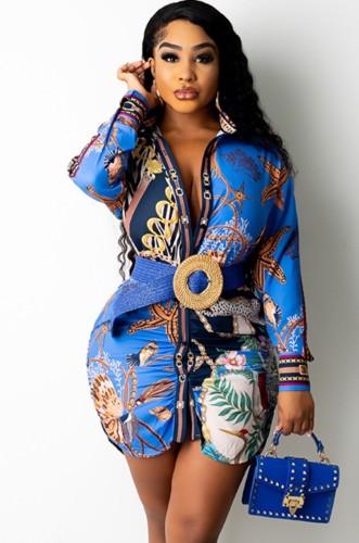 Vestido de blusa africana con estampado de otoño Enthic y mangas completas