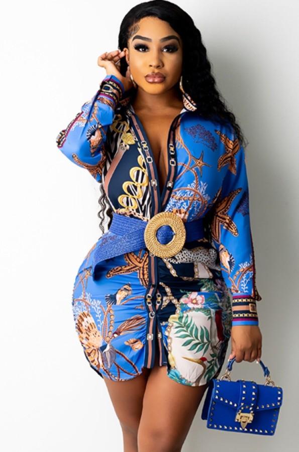 Abito a camicetta con stampa africana autunnale con maniche lunghe Full