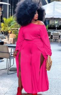 Conjunto de pantalón con abertura y top corto formal de color rosa de talla grande de otoño