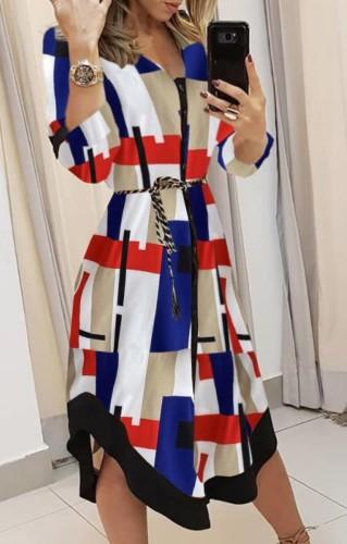 Vestido largo de blusa geométrica multicolor otoñal con cinturón