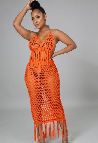 Summer Orange Fishnet Tassels Crop Top y Falda larga Cubiertas de 2 piezas