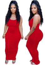 Sommerfest Rot Sexy gerafftes langes Trägerkleid