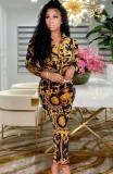 Set camicetta e pantaloni con stampa africana autunnale