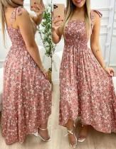 Sommer-Blumenpint-Maxi-Sommerkleid mit geknoteten Trägern