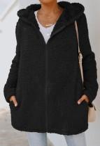 Herbst Polar Fleece Schwarze Kapuzenjacke mit langem Reißverschluss und Tasche
