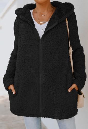 Veste d'automne en molleton noir à capuche longue fermeture éclair avec poche