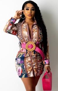 Tam Kollu Sonbahar Enthic Baskı Afrika Bluz Elbise