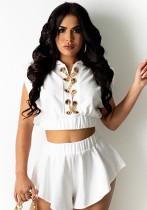 Summer White Sexy Lace-Up Crop Top y conjunto de pantalones cortos de pierna ancha