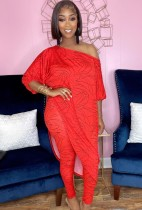 Herbst Casual Print Rotes unregelmäßiges langes Hemd und passende Hose Set