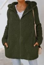 Herbst Polar Fleece Grüne Kapuzenjacke mit langem Reißverschluss und Tasche
