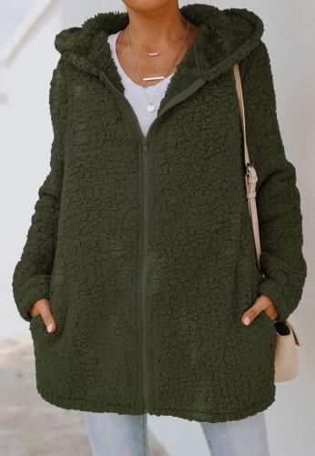 Veste d'automne en polaire verte à capuche longue fermeture éclair avec poche