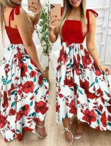 Yaz Çiçekli Pint Düğümlü Askı Maxi Sundress