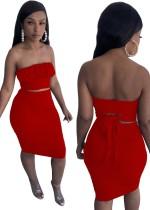 Conjunto de falda midi y top corto sin tirantes sexy rojo fiesta de verano