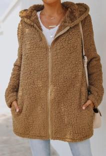 Chaqueta de cremallera larga con capucha marrón de forro polar de otoño con bolsillo