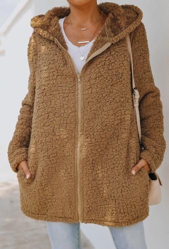 Veste d'automne en polaire marron à capuche longue avec poche