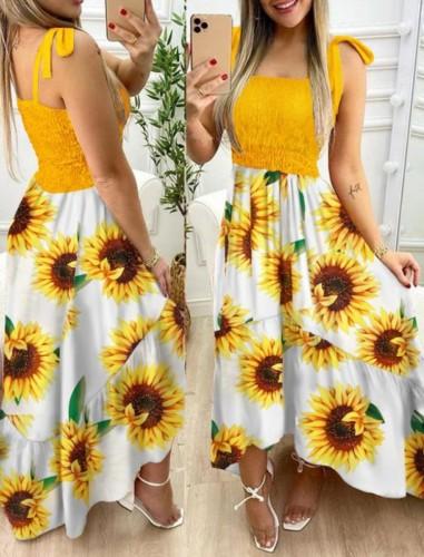 Maxi robe d'été à bretelles nouées florales pinte