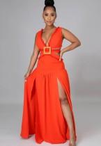 Sommer Orange Sexy Cut Out V-Ausschnitt Ärmelloses Schlitz Langes Kleid