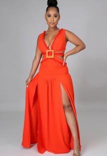 Summer Orange Sexy Cut Out V-Neck Sleeveless Slit Long Dress