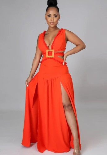 Robe longue fendue sans manches à encolure en V et à découpes sexy orange d'été