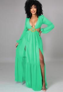 Autumn Green Sexy Cut Out V-Neck Sleeveless Slit Long Dress