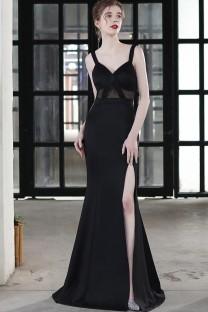 Zomer formele occasionele riem split zeemeermin avondjurk zwart Dress
