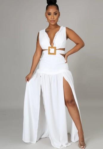 Robe longue fendue sans manches à encolure en V sexy blanche d'été
