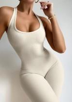 Summer Sports Beige gerippter ärmelloser Basic Jumpsuit