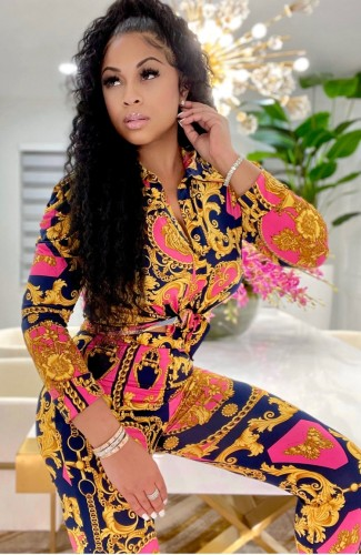 Conjunto de pantalón y blusa africana con estampado Autumn Enthic