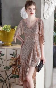 Summer Occassional Formal Gold Sequin Irregular Short Cocktail Dress