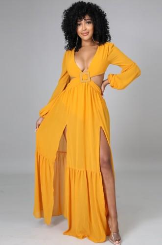Robe longue fendue sans manches à encolure en V sexy jaune d'automne