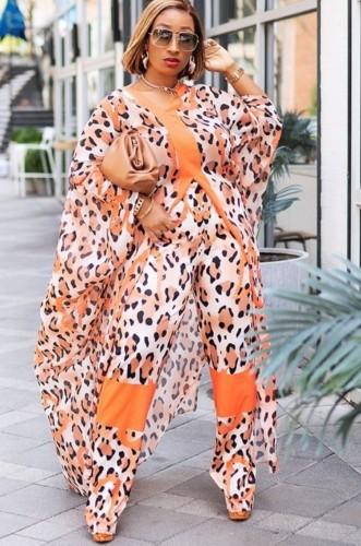 Autumn Orange luipaardprint touw met broek 2 delige set