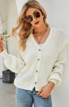 Herbst Lässige weiße V-Ausschnitt-Knopf-offene Langarm-Pullover